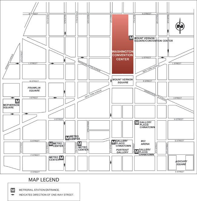 Map of DC Convention Ctr Area - Rally to be in Mt. Vernon Square facing the end of the Convention Center