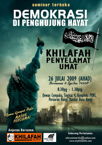 "Hizb ut-Tahrir promotion for Islamic Supremacist Caliphate conference shows ""beheaded"" Statue of Liberty and ""burning"" NYC"