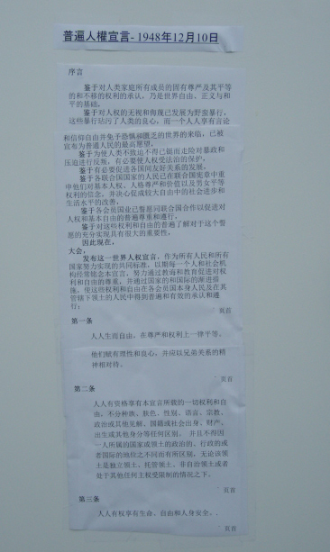 Sign with Universal Declaration of Human Rights (UDHR) in Chinese - Preamble and Articles 1-3