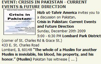 Image from Hizb ut-Tahrir America's Web Site Promoting a Chicago Suburb Event on Pakistan on December 20
