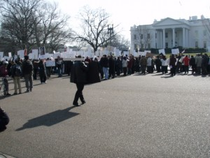 Protesters Line Up Along Pennsylvania Avenue in front of the White House