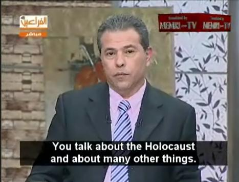 Egyptian Television Al-Faraeen Owner Tawfiq Okasha Questions Holocaust (Photos: Clips from MEMRI Video)