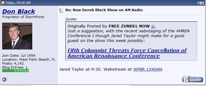 "Stormfront Ad for American Renaissance's Jared Taylor as ""Guest"" on Stormfront Derek Black's Radio Show"