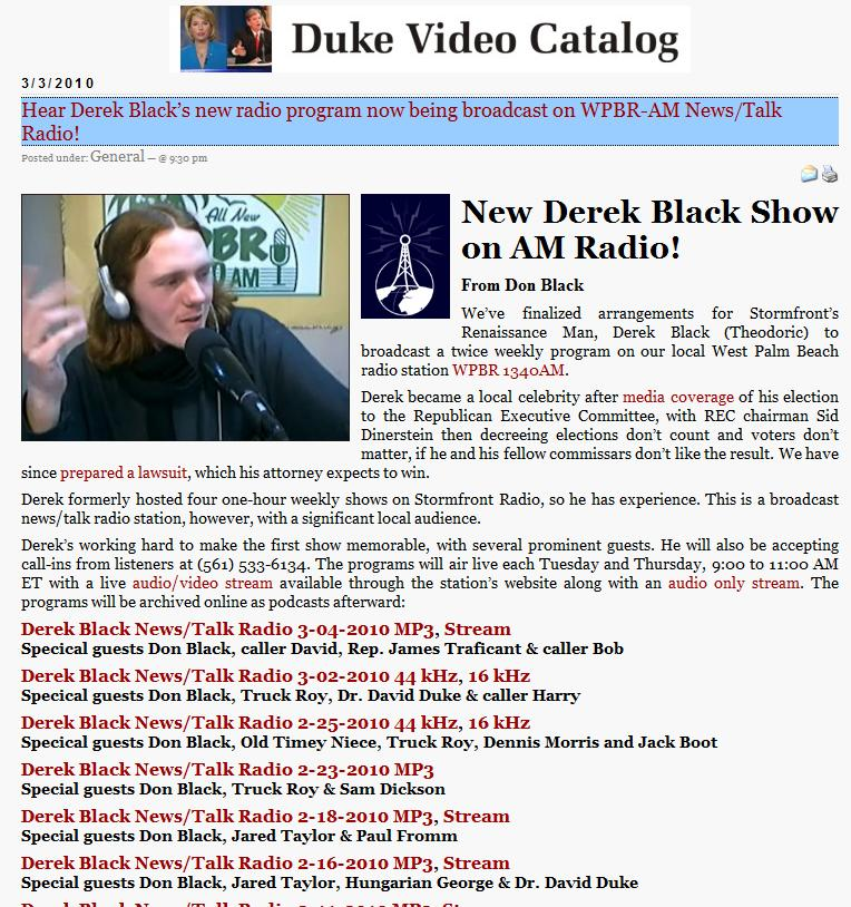 Former Ku Klux Klan (KKK) Leader David Duke Also References Jared Taylor's Appearance on Stormfront Derek Black's Radio Show