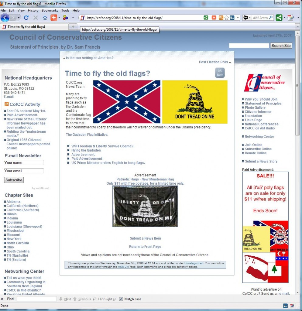"""White Nationalist Hate Group"" Council of Conservative Citizens (CofCC) and Gadsden Flag Promotion"