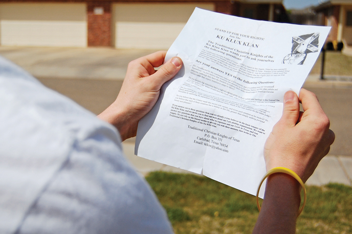 Texas Ku Klux Klan Organization Flier Distribution (Photo: Daily Toreador/Brittany Nunn)