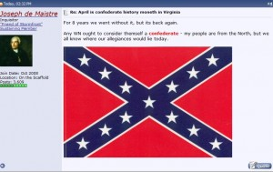 "Stormfront ""White Nationalist Hate Group"" Forum Members Praises Virginia Governor McDonnell's Decision on ""Confederate History Month"""