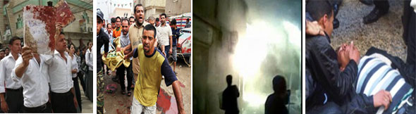 Middle East: Bombing Aftermath of Iraqi Christians (AP), Iraqi Shiite Mosques (London Times/Alice Fordham), Arson Attack on Egyptian Coptic Christians, and Terrorist Attack in January on Egyptian Coptic Christians (al-Masry al-Yom)