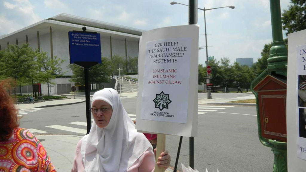 Muslims for Progressive Values (MPV) DC chapter activist Fatima Thompson Protests for Women's Human Rights