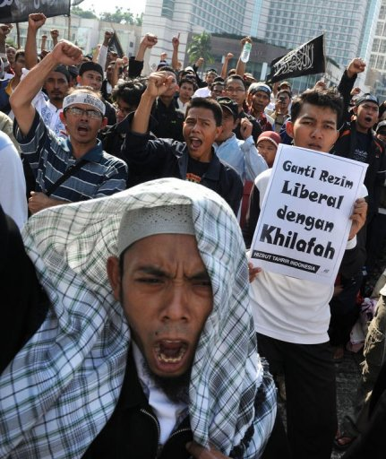 Anti-Democracy Group Hizb ut-Tahrir Protest in Indonesia