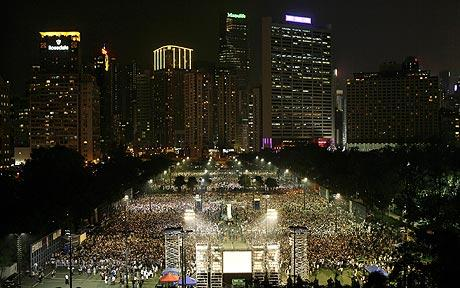 An estimated 50,000 people, many of them students, gather in Hong Kong's Victoria Park for the annual candlelit vigil to commemorate the anniversary of the Tiananmen massacre.  (Photo: AP)