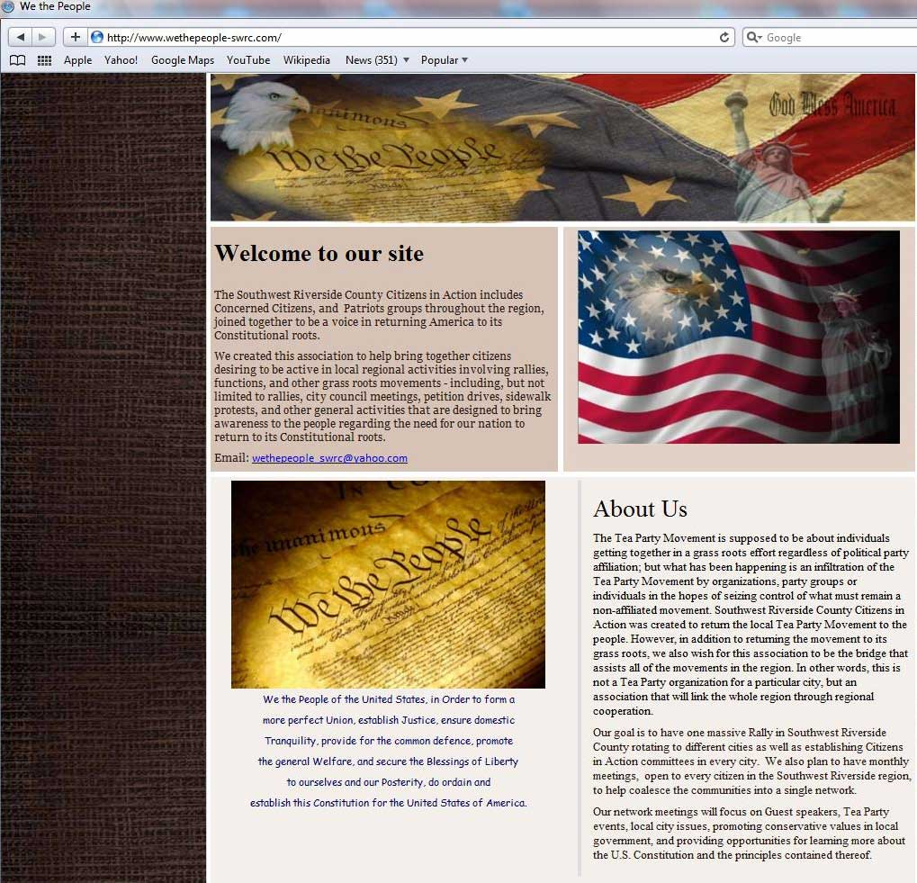 "SWRC Tea Party Citizens in Action web site states its mission as ""Southwest Riverside County Citizens in Action was created to return the local Tea Party Movement to the people."" (Screen Shot: SWRC Tea Party Web Site)"