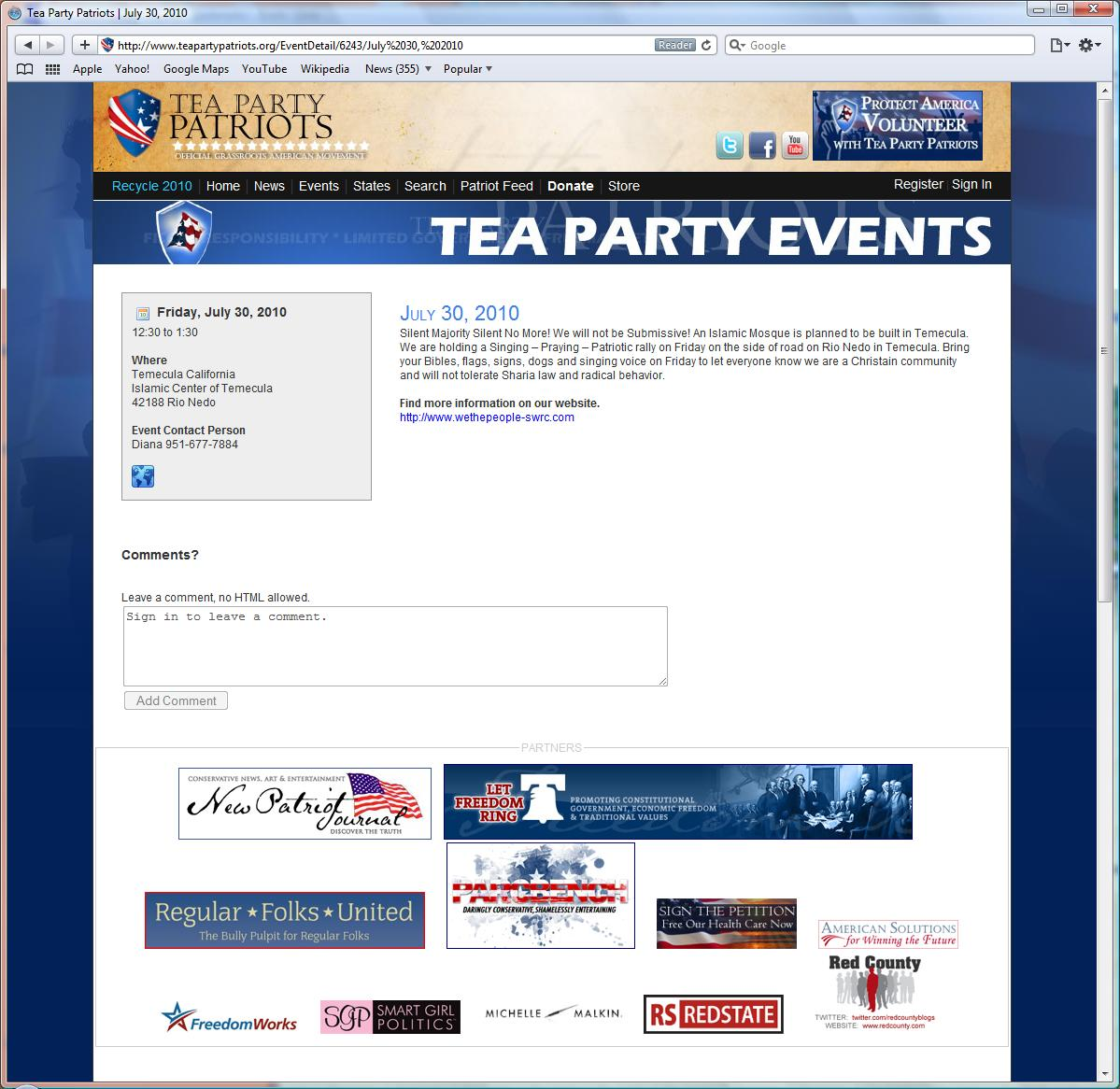 "National Tea Party Patriots Web Site Promotes Southwest Riverside County (SWRC) Tea Party Citizens in Action Group Mosque ""Rally"""