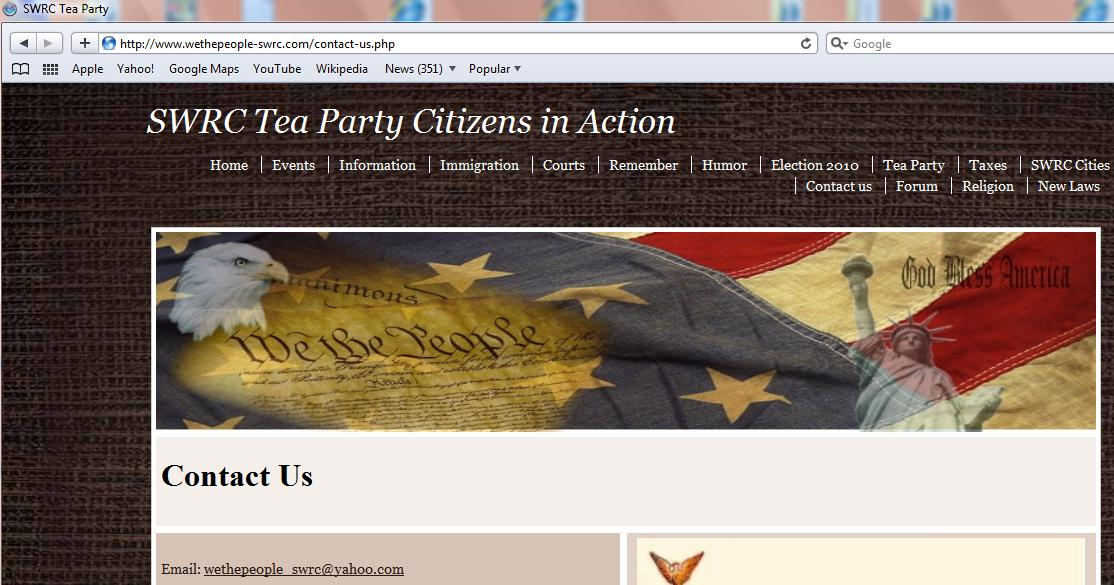 Group Defines Itself as the SWRC Tea Party on Web Site (Photo: SWRC Tea Party Web Site)