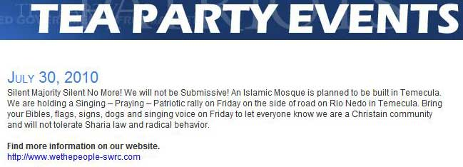 California: Temecula Mosque Protest for July 30 Promoted on National Tea Party Web Site