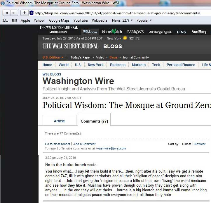 Wall Street Journal (WSJ) Washington Wire - Reader Comments on July 24, 2010 Calling for Attack on NYC Mosque