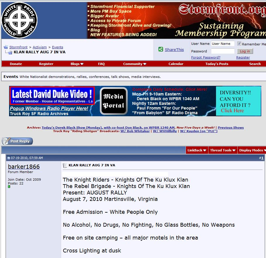 Stormfront Promotes Virginia Ku Klux Klan Cross Burning