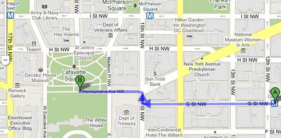 Map Showing Walk from Metro Center to White House - and Nearby McPherson Square, Farragut West Stops