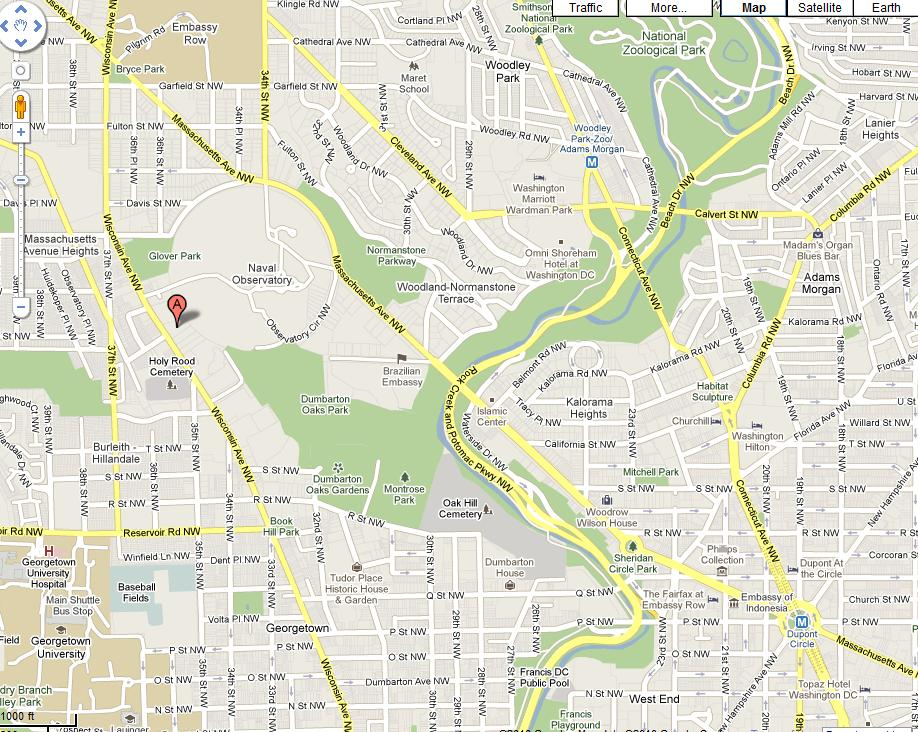 Washington DC: Street Map Showing Area Around 2209 Wisconsin Avenue, N.W.
