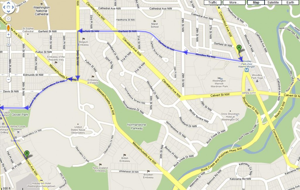 Walking Map from Woodley Park Metro