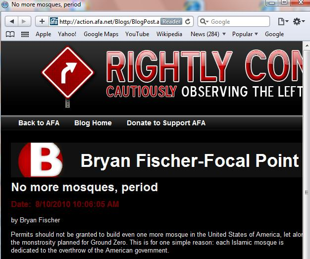 Screenshot Excerpt of Bryan Fischer's AFA Blog Article Against Mosques in America