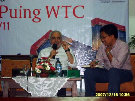 "Indonesia, December 2007 - Imam Feisal Abdul Rauf Defends U.S. Constitution, Apparently as Part of Book Promotion for ""A Call to Prayer from the World Trade Center Rubble: Islamic Da'wah From the Heart of America Post-9/11."" (Photo: HTI Website)"