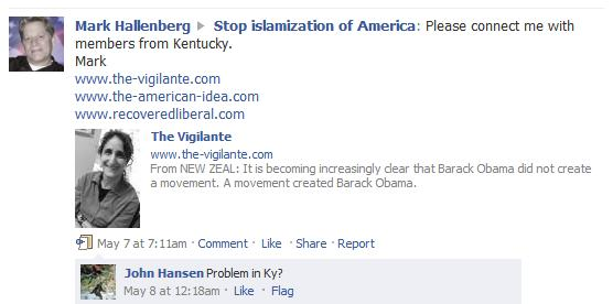 Kentucky Stop Islamization of America (SIOA) Supporter Mark Hallenberg Started Recruiting Anti-Islam, Anti-Mosque Supporters for Kentucky in May 2010