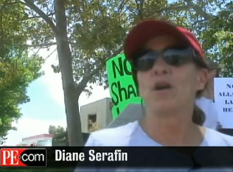Tea Party Activist Diane Serafin at Anti-Mosque Protest in Temecula (Photo: Still from Press-Enterprise Video)