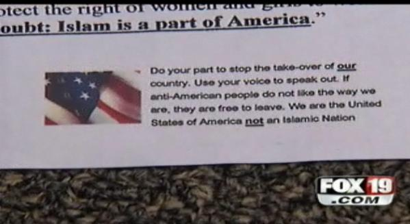 Kentucky: Anti-Mosque Flier Being Circulated (Photo: Fox 19 News)