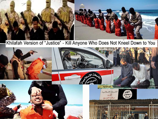 """Khilafah Justice"" - ISIS's Version of ""Police Authority"" - Shootings, Beheading, Whipping - they are ""equal rights"" they kill anyone who is not their faith, they torture anyone who does not submit to their bullying"