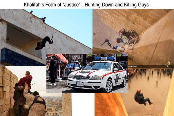 "Khilafah's Form of ""Justice"" for Gays - Hunting and Down and Publicly Murdering Gays by Stoning, Throwing Them Off Buildings (Center ISIS Khilafah Police Vehicle)"