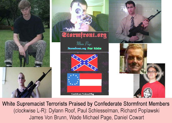 Confederate Stormfront Members Support for White Supremacist Terrorists