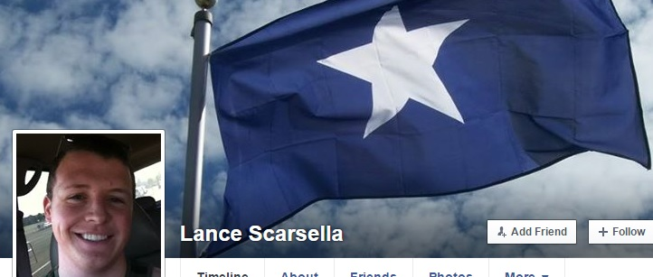 Lance Scarsella and Bonny-Blue Confederate Flag (Source: Facebook)