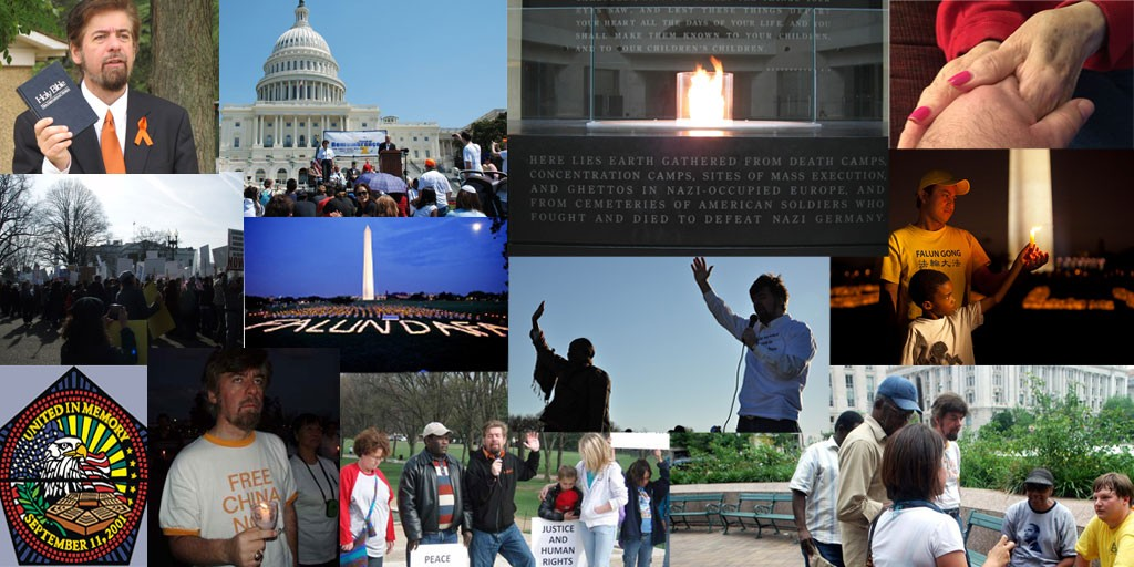 The Power of Faith and Prayer - Images from events -- (Top - left to right - R.E.A.L.'s Jeffrey Imm at Confederate Memorial of Robert E. Lee urging White Supremacists to end hate, U.S. Capitol prayers in remembrance of the Holocaust, prayers at the U.S. Holocaust Memorial Museum, prayers in fighting Alzheimer's Disease) -- (Middle - left to right: Prayers at the White House for Persecuted Egyptian Coptic Christians, meditation by Falun Dafa practitioners at Washington Memorial, center photo Prayers on April 4, remembering the death of Dr. Martin Luther King, Jr. at Lincoln Memorial, meditation by Falun Gong faithful) --(Bottom - left to right - Interfaith prayers at U.S. Pentagon chapel, prayers to free the Chinese people on the anniversary of Tiananmen Square massacre, prayers at the Lincoln Memorial for Darfur, and for equality and liberty for all by Interfaith Christians, Muslims, and Jewish people, and interfaith prayer at Freedom Plaza praying to end the burden of hate and the end to white supremacist violence by Muslim, Jewish, Christian, Buddhist believers.)