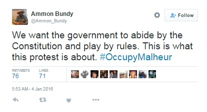 Terrorist Leader Ammon Bundy still has access to Twitter account to spread his message, while holding U.S. government facilities at gunpoint (Source: Twitter)