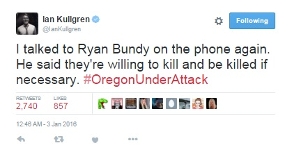 Oregon: Member of Bundy Terrorist Group Threatens to Kill Americans (Source: Twitter)