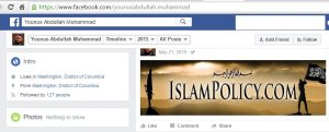 Younus Abdullah Muhammad Facebook Page for his IslamPolicy Web Site when he announced his release included man waving ISIS flag (Facebook screenshot)